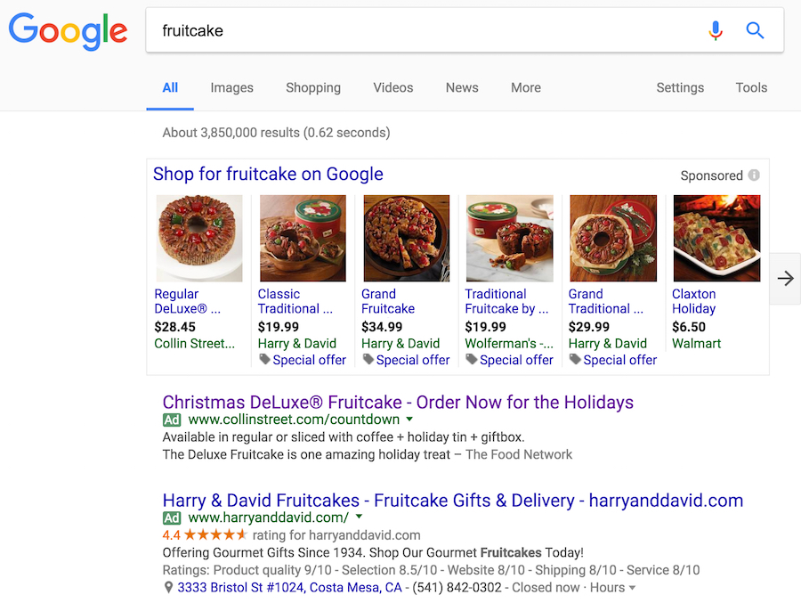 Example of Google Text & Shopping Ads